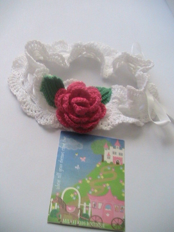 Crochet Girls Head Bands...Baby head band with Hot Pink Flower...Victorian head band