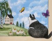 Out my Window - Original Hand Painted Tuxedo Cat Painting - Christmas Birthday Art