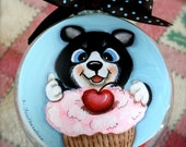 Whimsical Original Unique Mothers Day, Fathers Day Gift, Hand painted Kitten Tuxedo Cat Art painting on glass ornament