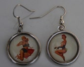 50s Pin Up Girl Earrings Rockabilly Retro