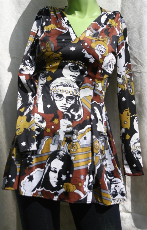 Amazing Vintage 60s 70s Psychedelic Go Go Dress with panties ILGWU Union Made Biker Hippy Go Go dancer Dress