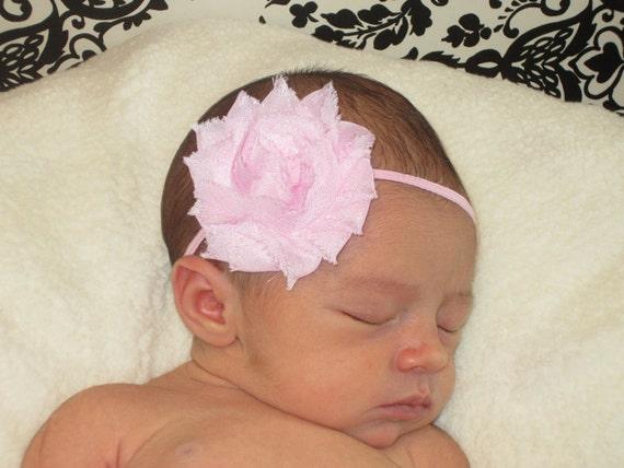 Baby Girl Pink Headband - Newborn Headband - Infant Headband - Baby Girl Flower Headband - Pink Flower Headband