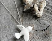 Porcelain Dove Necklace, Silver Chain