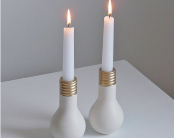 Porcelain Light Bulb Candlestick Set
