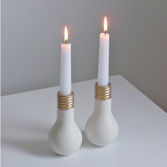 Porcelain Light Bulb Candlestick Set