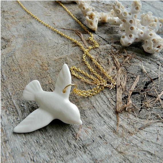 Porcelain Dove Necklace, Gold Chain