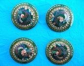 Vintage Guilloche Buttons w/ Marcisite