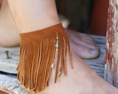 POCAHONTAS FRING- Leather fringe ankle bracelet, tan