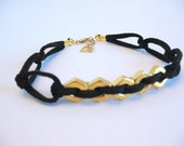 BRASS HOURSE- leather and brass hex nut bracelet (free shipping)