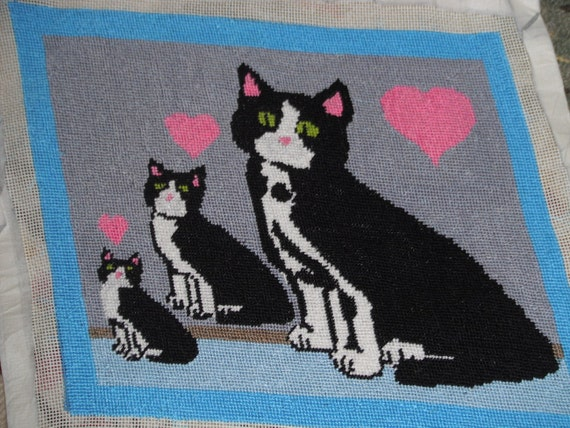 Three Tuxedo Cats Completed Needlepoint