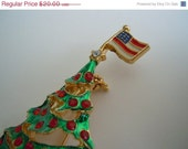 Very Merry Sale Vintage Christmas Tree with American Flag Brooch