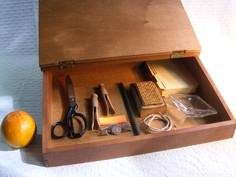 Vintage wood lap desk storage secretary box - Wood lap desk with storage ...