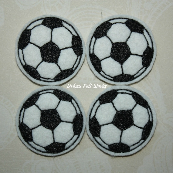 Soccer Ball Embroidered Felt Applique - Set of 4 - READY TO SHIP