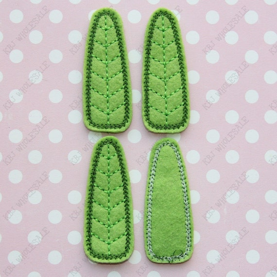 Leaf Snap Clips Covers Embroidered Felt Applique - Set of 4 - READY TO SHIP