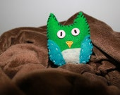 Tiny Blue and Green Handmade Owl