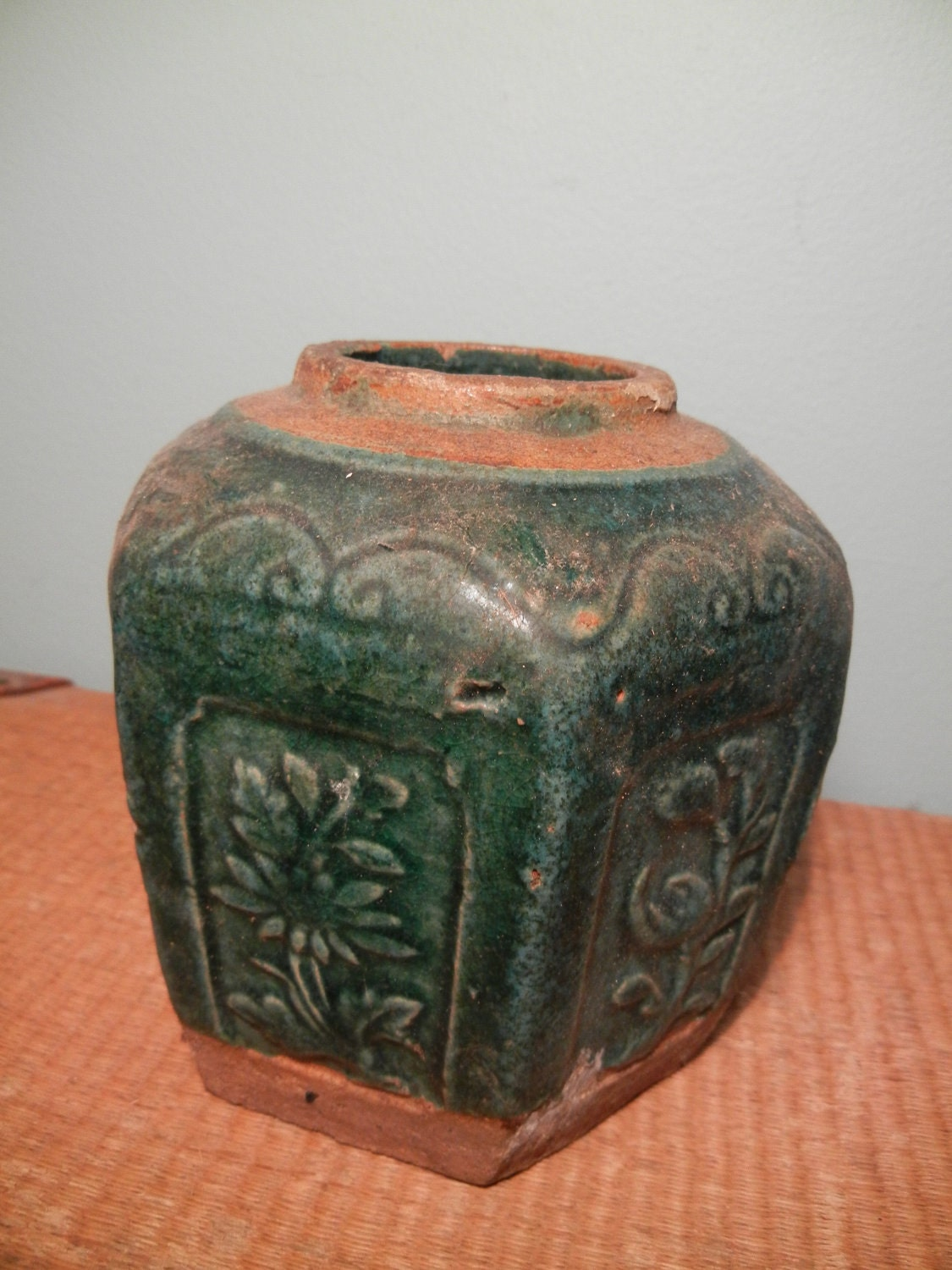 Vintage Chinese Ginger Jar With Green Glaze