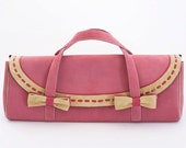 Handmade bag from pink and beige suede leather