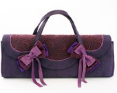 Doll carrying bag, handmade from purple leather