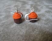 orange mini cupcake earrings