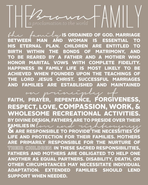 Personalized Family Proclamation Print