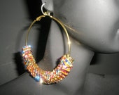 Basketball Wives Inspired MULTI-COLORED Square Rondelle Charm Hoop Fashion Earrings- Small