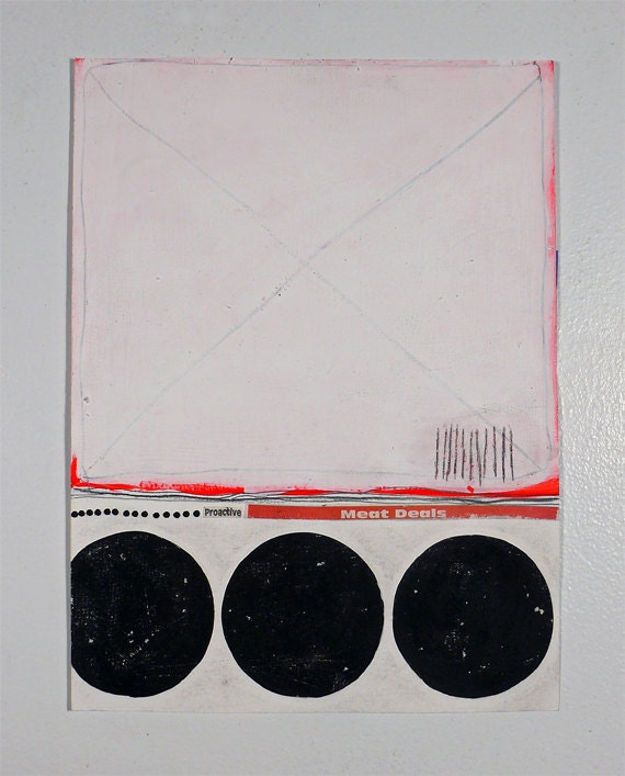 9x12 Original Abstract Geometric Collage, White, Black & Red  NY1023