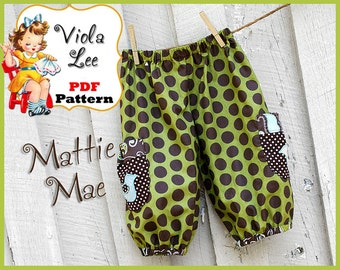 Mattie Mae... Girl's Pants Pattern. Toddler Shorts Pattern. Girl's pdf Sewing Pattern. Toddler Pants Pattern. Infants Sewing Patterns