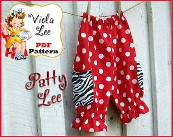 Patty, Girl's Pants Pattern, Toddler Capris Pattern, Girl's Sewing Pattern pdf, Toddler Sewing Pattern, Baby Sewing Pattern, Infant Pants