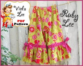 Ruby Lee...Girl's Ruffled Pants Pattern, Capris Pattern, PDF Sewing Pattern. Girls Sewing Pattern, Toddler Pattern, Infant Pattern