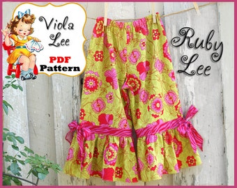 Ruby Lee... Girl's Ruffled Pants Pattern, Capris Pattern. pdf Sewing Pattern. Girl's Sewing Pattern, Toddler Pants Pattern, INSTANT DOWNLOAD