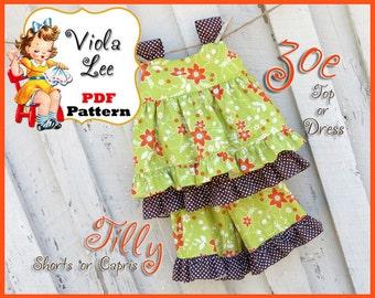 Zoe... Girl's Dress Pattern. Top Pattern. pair with my Ruffle Shorts Pattern, Ruffle Pants Pattern. Girl's Sewing Pattern. pdf