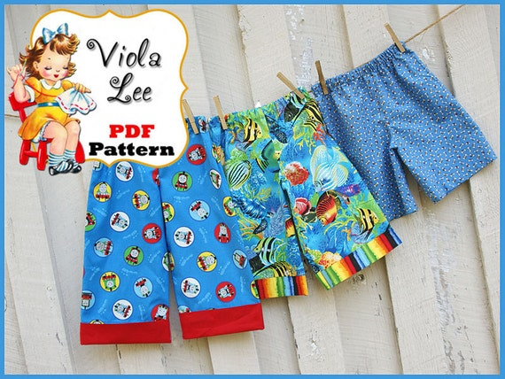 Trevor...Boy's Pants Pattern, Long Pants, Cuffed Long Pants, Beach Shorts Pattern, Shorts Pattern. INSTANT DOWNLOAD. Toddler Pattern