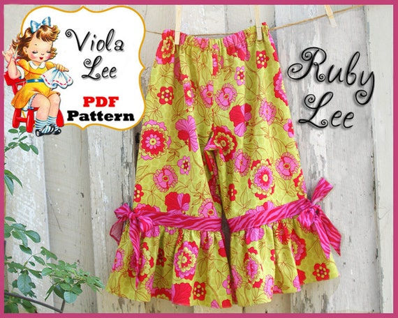 Ruby Lee... Girl's Ruffled Pants Pattern, Capris Sewing Pattern. pdf Sewing Pattern. Girl's Sewing Pattern, Toddler Pants Pattern