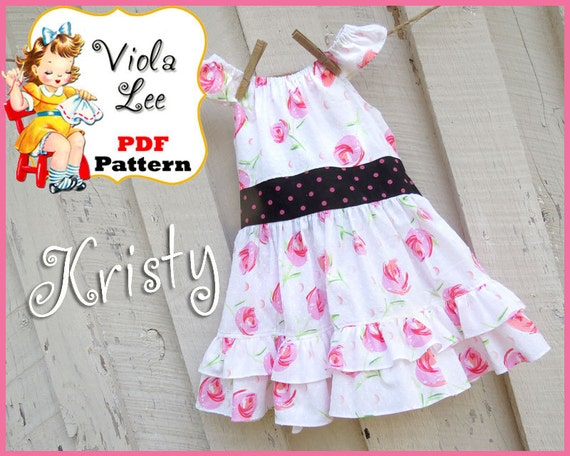 Kristy... Girl's Peasant Dress and Peasant Top pdf Sewing Pattern. Toddler Dress Pattern. Girl's Dress Pattern.Toddler Peasant Top Pattern