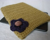 READY TO SHIP  Kindle Touch Sleeve Cover Gold Purple Flower & bronze button
