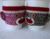 His and Hers Sock Monkey Coffee Cozy SET of two (red, white with pink and brown)