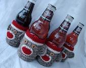 Six 6 Pack Sock Monkey Beer, water, soda Bottle Cozies half dozen,wedding birthday party favor teacher appreciation