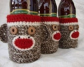 Sock Monkey Cozy for Beer, Water or Soda Bottle brown or in fun colors