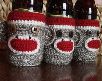 Pair of Sock Monkey Beer Bottle Cozies