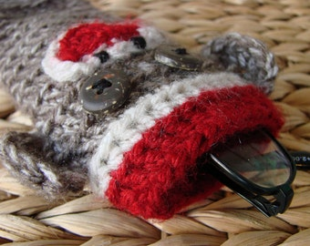 Sock Monkey Eyeglass Sleeve Cover Case sun glasses reading glasses