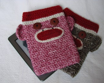 Two Sock Monkey Kindle eReader Nook Sleeve Covers pink and brown (or any color combination)