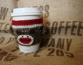 Rustic Sock Monkey coffee cozy sock monkey sleeve