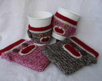 His & Hers Sock Monkey Kindle Kobo, Nook eReader Sleeve Coffee Cozy SET of two Pink Brown (or Any Color Combo)