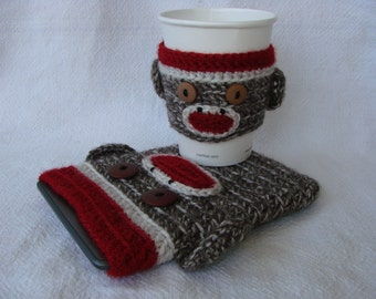 Sock Monkey Kindle Kobo Nook eReader Sleeve and Coffee Cozy SET Back to School College University