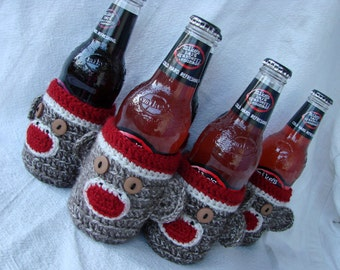 6 Pack Sock Monkey Cozies for Beer, water, soda Bottle (set of six)