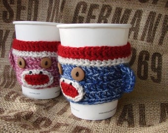 Sock Monkey Coffee Cozy Sock Monkey Sleeve TWO (one pink, one blue) His Hers