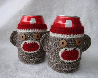 Sock Monkey Drink Cozy for 20oz Gatorade Bottle