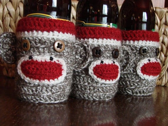Sock Monkey Beer or Soda Bottle Cozy