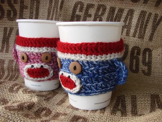 Sock Monkey Coffee Cozy Sock Monkey Sleeve TWO (one pink, one blue) His Hers