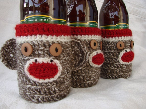 Sock Monkey Cozy for Beer, Water or Soda Bottle brown or in fun colors